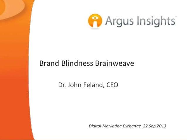 Brand Blindness Brainweave Dr. John Feland, CEO  Digital Marketing Exchange, 22 Sep 2013