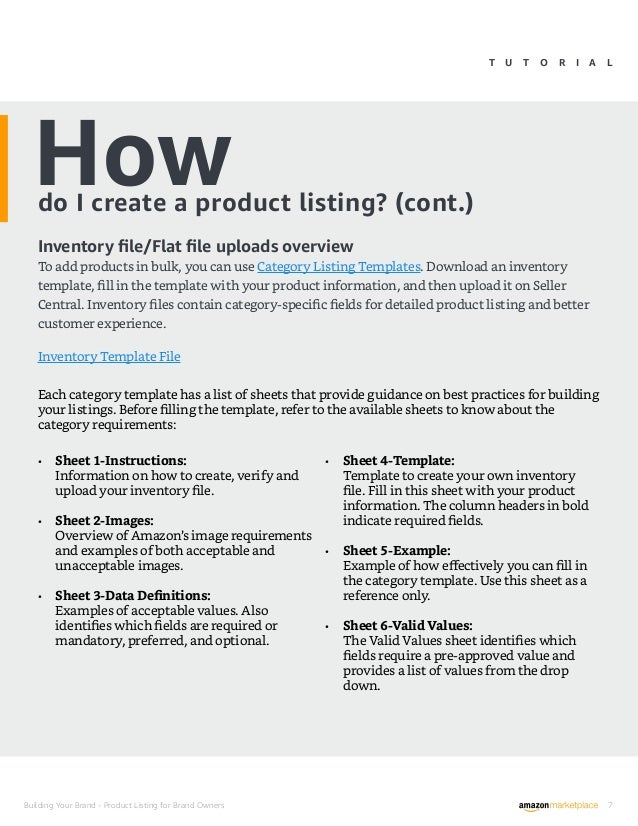 Product List Template | Product Listing Pdf Amazon