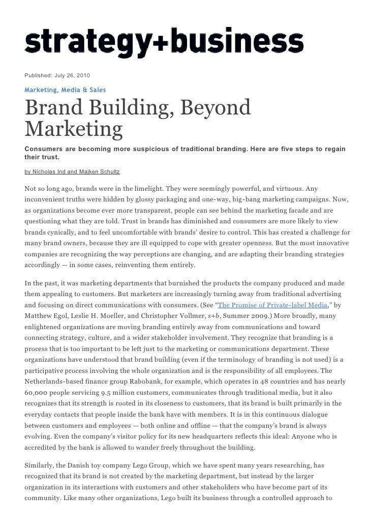 Brand building, beyond marketing