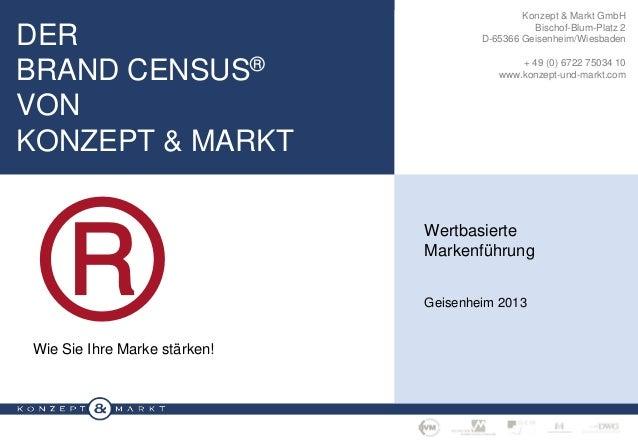 DER BRAND CENSUS® VON KONZEPT & MARKT  ®  Konzept & Markt GmbH Bischof-Blum-Platz 2 D-65366 Geisenheim/Wiesbaden + 49 (0) ...