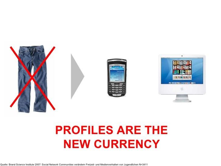 PROFILES ARE THE NEW CURRENCY Quelle: Brand Science Institute 2007: Social Network Communities verändern Freizeit- und Med...
