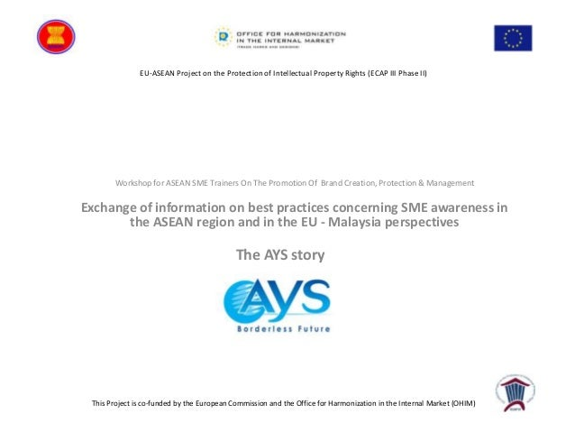 EU-ASEAN Project on the Protection of Intellectual Property Rights (ECAP III Phase II)  Workshop for ASEAN SME Trainers On...