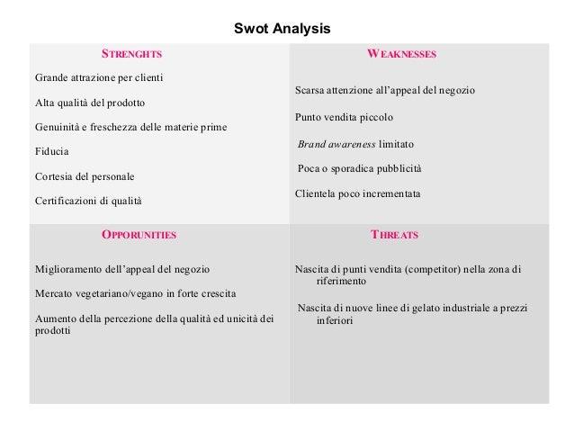 Swot Analysis STRENGHTS Grande attrazione per clienti Alta qualità del prodotto Genuinità e freschezza delle materie prime...