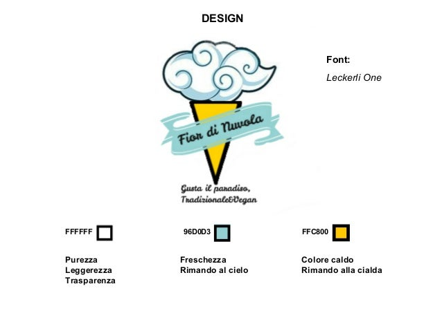 DESIGN Font: Leckerli One FFFFFF 96D0D3 FFC800 Purezza Leggerezza Trasparenza Freschezza Rimando al cielo Colore caldo Rim...