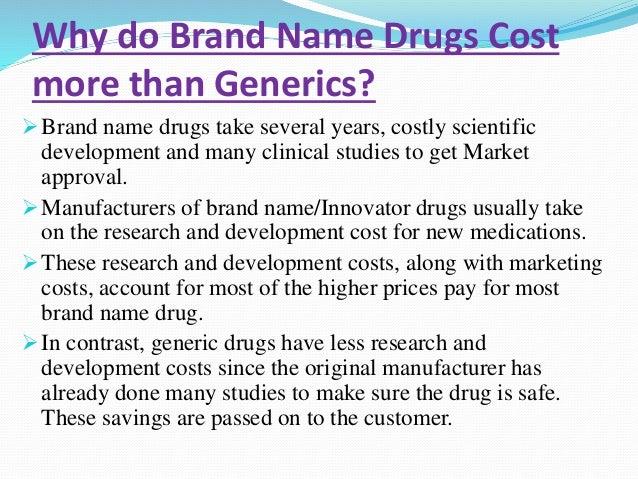 Brand drug vs generic drug