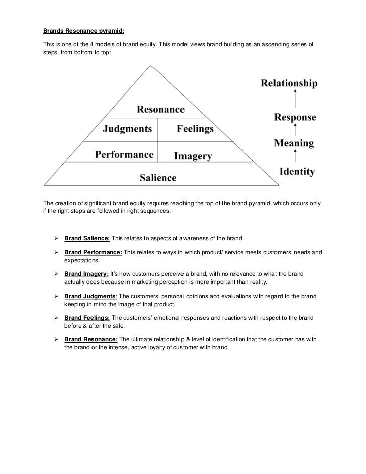 Brands Resonance pyramid:This is one of the 4 models of brand equity. This model views brand building as an ascending seri...