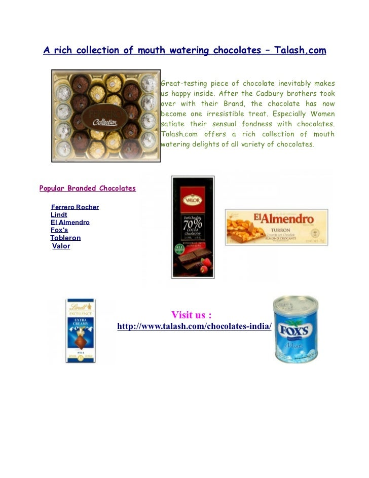 A rich collection of mouth watering chocolates – Talash.com                                  Great-testing piece of chocol...