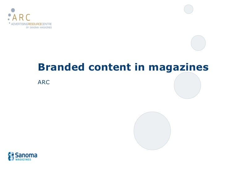 Branded content in magazines ARC