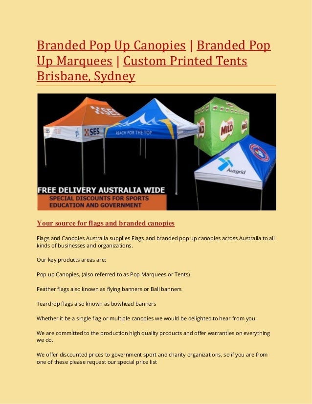 Branded Pop Up Canopies | Branded Pop Up Marquees | Custom Printed Tents Brisbane ...  sc 1 st  SlideShare & Branded Pop Up Canopies | Branded Pop Up Marquees | Custom Printed Teu2026