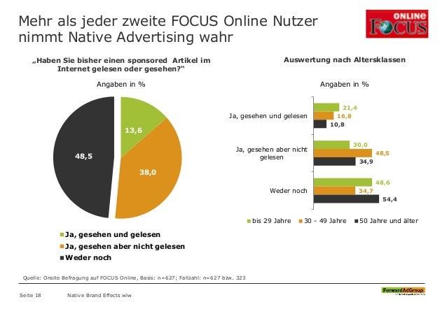 Mehr als jeder zweite FOCUS Online Nutzer nimmt Native Advertising wahr 13,6 38,0 48,5 Ja, gesehen und gelesen Ja, gesehen...