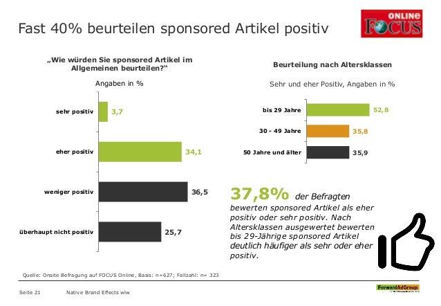 Fast 40% beurteilen sponsored Artikel positiv Native Brand Effects wlw 3,7 34,1 36,5 25,7 sehr positiv eher positiv wenige...
