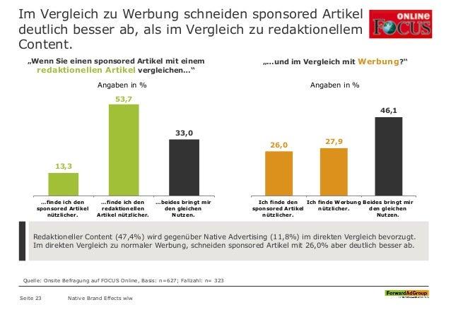 Im Vergleich zu Werbung schneiden sponsored Artikel deutlich besser ab, als im Vergleich zu redaktionellem Content. Redakt...