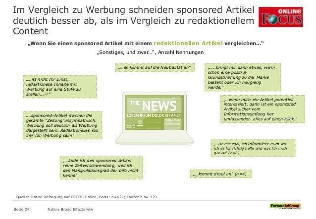 Im Vergleich zu Werbung schneiden sponsored Artikel deutlich besser ab, als im Vergleich zu redaktionellem Content Seite 2...