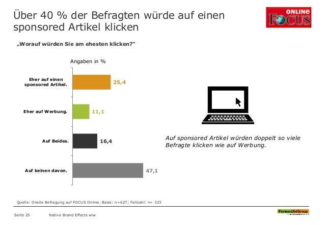 Über 40 % der Befragten würde auf einen sponsored Artikel klicken Native Brand Effects wlw 25,4 11,1 16,4 47,1 Eher auf ei...