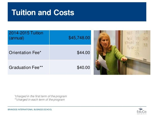 Tuition and Costs 2014-2015 Tuition (annual) $45,748.00 Orientation Fee* $44.00 Graduation Fee** $40.00 *charged in the fi...