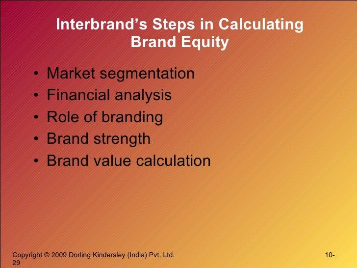 Interbrand's Steps in Calculating Brand Equity <ul><li>Market segmentation </li></ul><ul><li>Financial analysis </li></ul>...