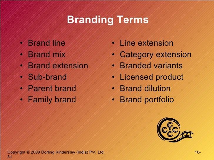 Branding Terms <ul><li>Brand line </li></ul><ul><li>Brand mix </li></ul><ul><li>Brand extension </li></ul><ul><li>Sub-bran...