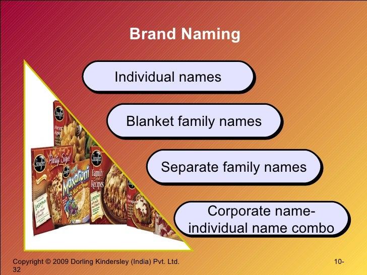 Brand Naming Individual names Blanket family names Separate family names Corporate name-individual name combo