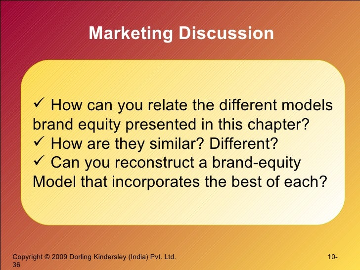 Marketing Discussion <ul><li>How can you relate the different models </li></ul><ul><li>brand equity presented in this chap...