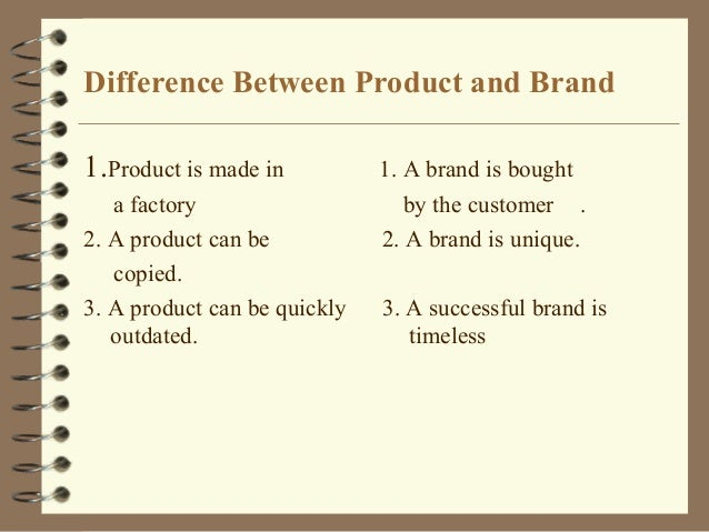 Difference Between Product and Brand 1.Product is made in  1. A brand is bought  a factory 2. A product can be copied. 3. ...