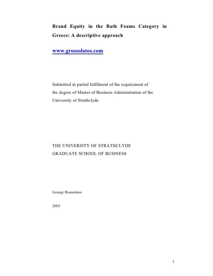 Phd thesis on brand equity