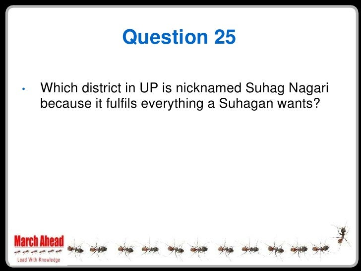 Question 25      Which district in UP is nicknamed Suhag Nagari •     because it fulfils everything a Suhagan wants?