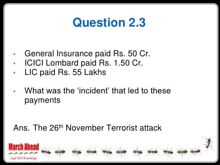 Question 2.3      General Insurance paid Rs. 50 Cr. •     ICICI Lombard paid Rs. 1.50 Cr. •     LIC paid Rs. 55 Lakhs •   ...