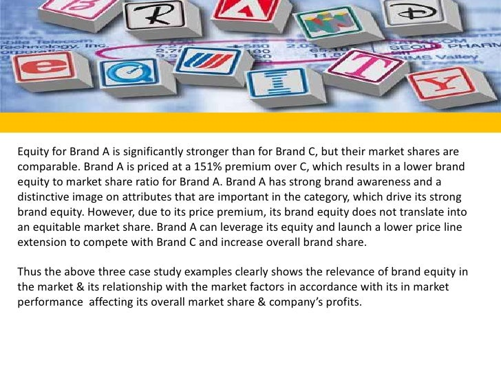 Equity for Brand A is significantly stronger than for Brand C, but their market shares are comparable. Brand A is priced a...