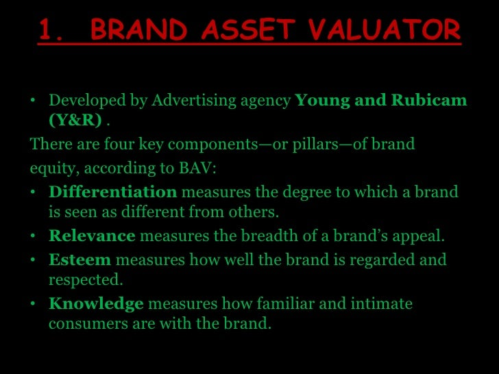 1.  BRAND ASSET VALUATOR<br />Developed by Advertising agency Young and Rubicam (Y&R) .<br />There are four key components...