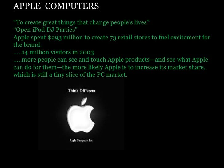 """APPLE  COMPUTERS""""To create great things that change people's lives"""" """"Open iPod DJ Parties"""" Apple spent $293 million to cre..."""
