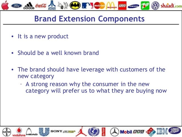 Brand Extension Components • It is a new product • Should be a well known brand • The brand should have leverage with cust...