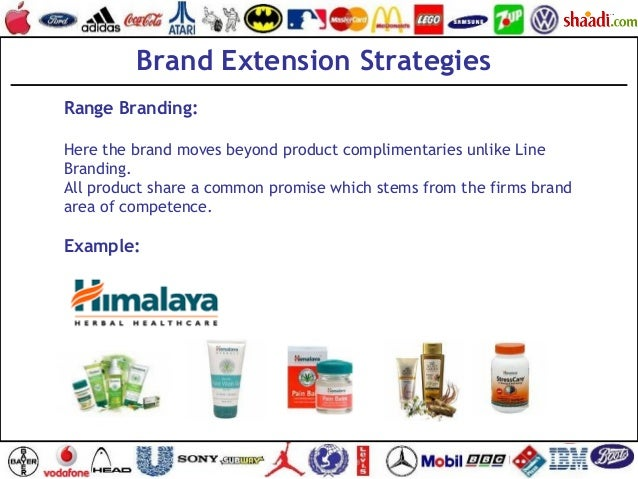 Brand Extension Strategies Range Branding: Here the brand moves beyond product complimentaries unlike Line Branding. All p...
