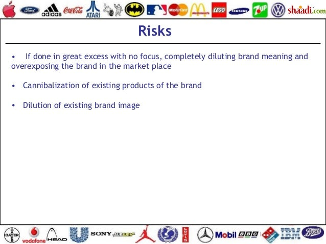 •  If done in great excess with no focus, completely diluting brand meaning and overexposing the brand in the market pla...