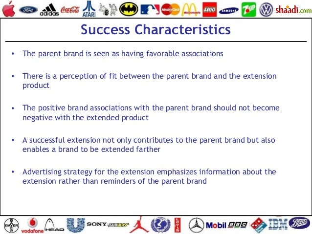 Success Characteristics • The parent brand is seen as having favorable associations • There is a perception of fit between...