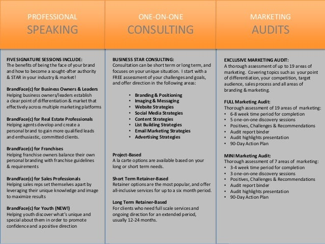 PROFESSIONAL SPEAKING ONE-ON-ONE CONSULTING MARKETING AUDITS FIVE SIGNATURE SESSIONS INCLUDE: The benefits of being the fa...