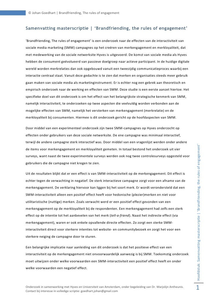 © Johan Goedhart | Brandfriending, The rules of engagement    Samenvatting masterscriptie | 'Brandfriending, the rules of ...