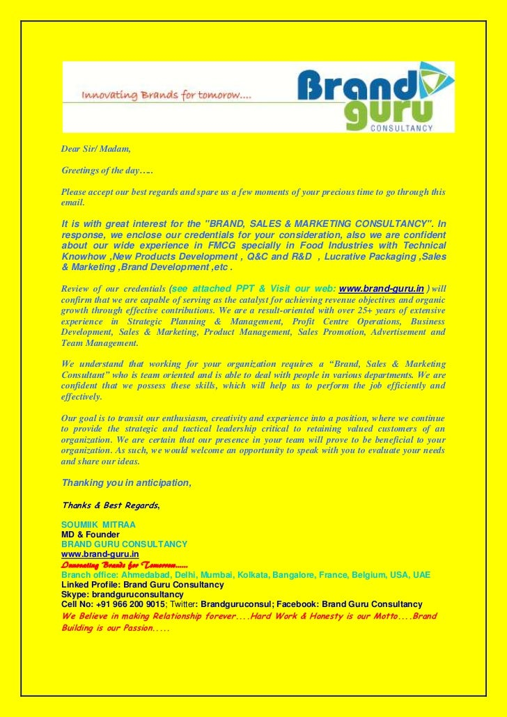 Brand Guru Consultancy Cover Letter. Dear Sir/ Madam,Greetings Of The  Dayu2026..Please Accept Our Best
