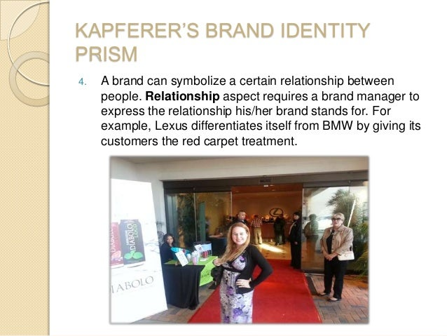 KAPFERER'S BRAND IDENTITY PRISM 4. A brand can symbolize a certain relationship between people. Relationship aspect requir...