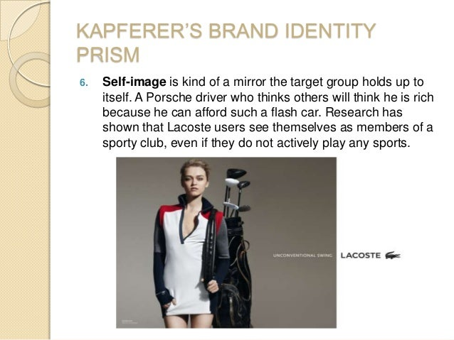 KAPFERER'S BRAND IDENTITY PRISM 6. Self-image is kind of a mirror the target group holds up to itself. A Porsche driver wh...