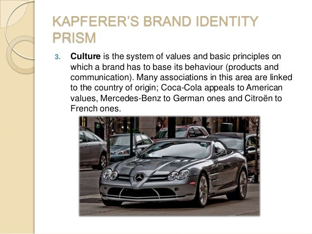 KAPFERER'S BRAND IDENTITY PRISM 3. Culture is the system of values and basic principles on which a brand has to base its b...