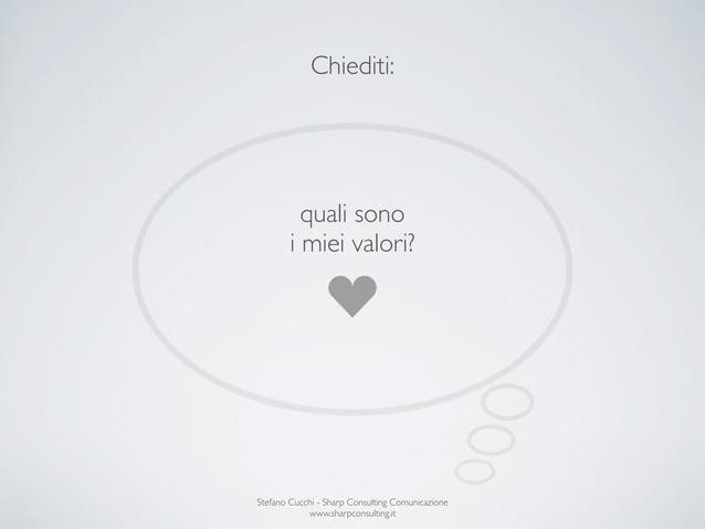 Chiediti:          quali sono        i miei valori?Stefano Cucchi - Sharp Consulting Comunicazione            www.sharpcon...