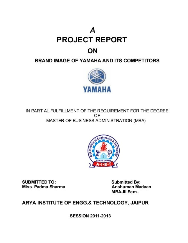 project report regarding yamaha motors V/f control of induction motor drive a thesis submitted in partial fulfillment of the requirements for the degree of we would like to thank our project supervisor, prof m pattnaik, for her constant motivation and guidance during the project.