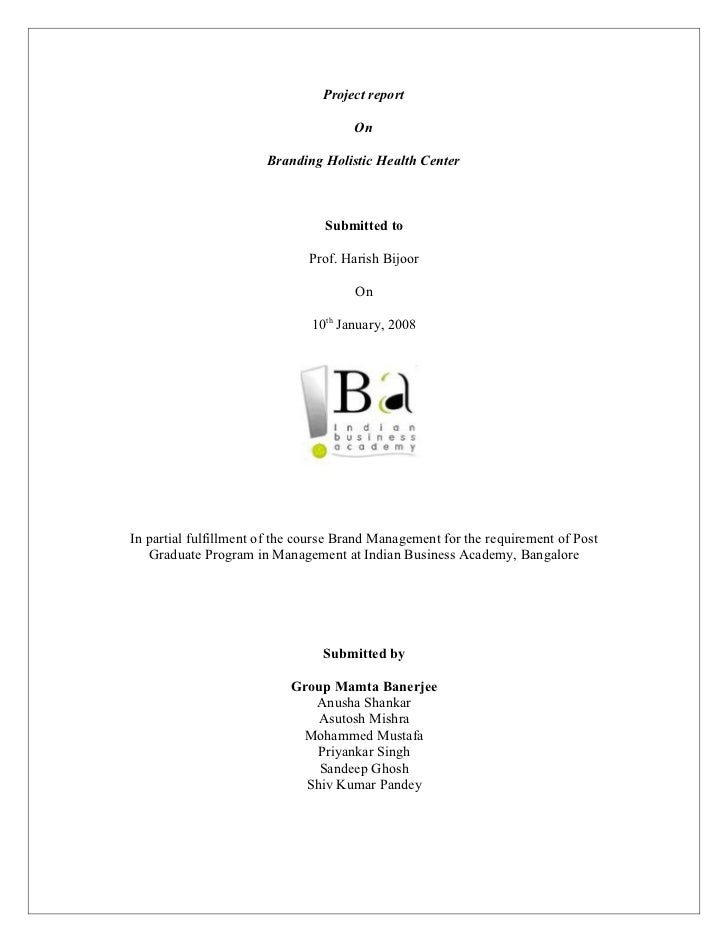 Project report                                      On                       Branding Holistic Health Center              ...