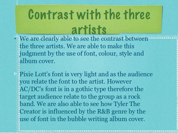 Contrast with the three artists <ul><li>We are clearly able to see the contrast between the three artists. We are able to ...