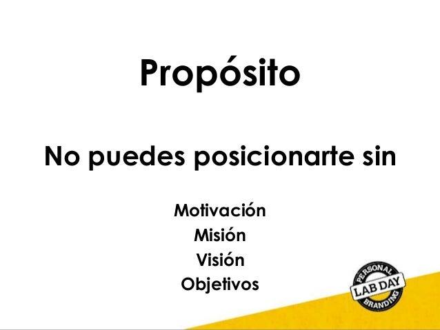 Propósito No puedes posicionarte sin Motivación Misión Visión Objetivos