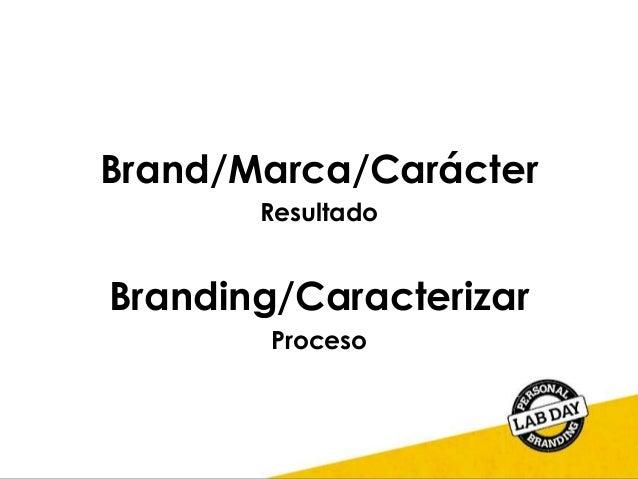 Brand/Marca/Carácter Resultado Branding/Caracterizar Proceso
