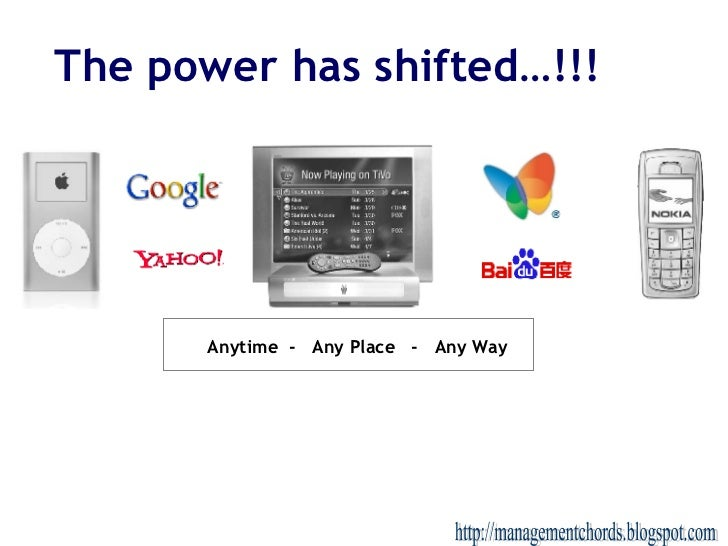 The power has shifted…!!! Anytime  -  Any Place  -  Any Way http://managementchords.blogspot.com