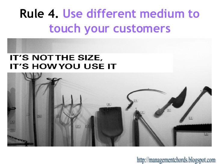 Rule 4.   Use different medium to touch your customers http://managementchords.blogspot.com