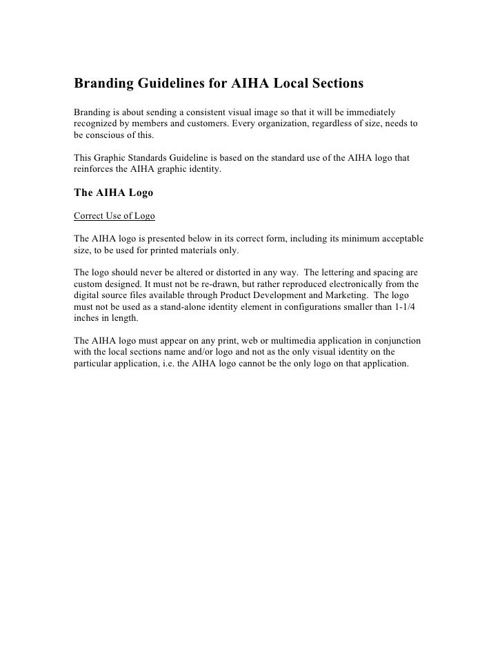 Branding Guidelines for AIHA Local SectionsBranding is about sending a consistent visual image so that it will be immediat...