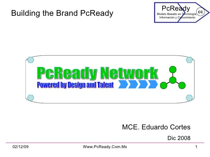 Building the Brand PcReady MCE. Eduardo Cortes Dic 2008 PcReady Network Powered by Design and Talent